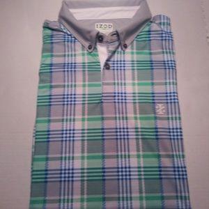 Men's IZOD Golf SZ L Blue Green White Plaid Shirt